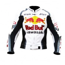 Red Kawasaki Ninja bull Motorcycle Moto Racing Jacket_ ( Full Safety Motorbike Leather Jacket)
