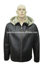Genuine Shearling Sheepskin Fur Leather Men's WW2 Bomber Aviator Hooded Jacket