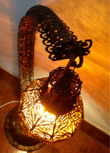 Wrought Iron Mouth-Blown Table Floor Lamp With Brass Glass Shade Oriental Moroccan Style