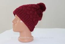 wholesale warm acrylic custom winter hats with ball on top