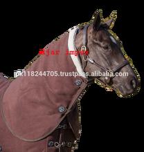 Horse Fleece Coolers LEMIEUX FLEECE HORSE STABLE TRAVEL SHOW SWEAT COOLER NECK COVER HOOD BROWN