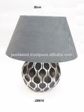 Cast Aluminium Table Lamp in two tone finish black and polished edge border