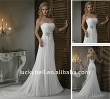 Exotic Hot sale Sleeveless Empire White Chiffon Wedding Dresses