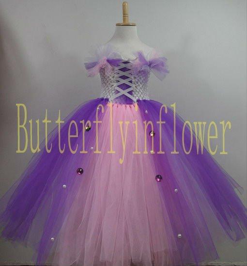 Rapunzel enredados inspirado del tutú púrpura rosada larga del ...
