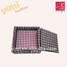 red grid leather square coaster with 4 pcs arts and craft