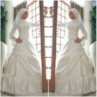 Free Shipping Sexy Sash Organza A-line high collar lace trim beaded satin Applique muslim wedding gown
