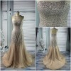 Hot Sale 30% Off for Women Strapless Mermaid Soft Net Satin Beaded Sequins Evening Dress Fashion 2012