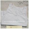 Suave y comfortable100% de algodón liso blanco de bebé niña camisetas sin mangas