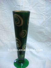 Green flower antique glass vase