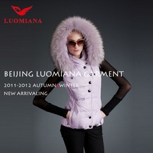 2012 New fashion Waistcoat Down With Fur Hooded For Womens