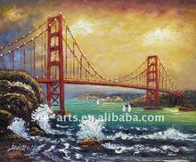 Bridge Sunset Boats Waves landscape painting SJL-0180