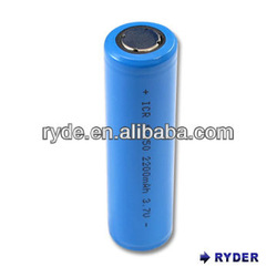 Lithium Ion 18650 3.7V 2200mAh cylindrical rechargeable batteries