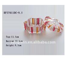 glass sugar bowl and candy bow with spray color designs ITEM NO.HF37011DC-9.5