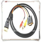 HDMI Male to VGA HD15p M 3 RCA Video/Audio AV Cable PS3 Xbox 360 TV 1.8m/5.9ft