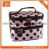 Cute sweet travel double zipper pink Satin polka dots lady cosmetic bag
