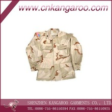 Men's T/C ripstop 3 colours desert camouflage with 4 pockets BDU military uniform for US army