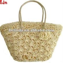 fashion lady beige paper straw summer bag