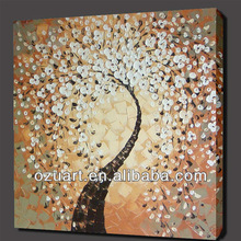 New Design Modern Handpainted Abstract Palette Knife Oil Painting on Canvas White Flower Tree