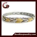 محلات المجوهرات الفولاذ المقاوم للصدأ المعادن والمجوهرات أساور الكريستال، مغناطيس قوي مع طلاء الذهب