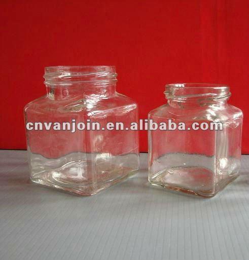 115 ml cuadrado de vidrio jarrones de caramelos de diferentes tamaños