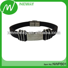 Metal clasp silicone negative ion bracelet