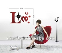 Modern Warm Love Homedecor Wall Stickers Clock for Lady Room