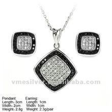 Round Square Sterling Silver Set,Hot Sale 925 Silver Jewelry set China Manufacturer Micro Pave Setting
