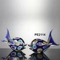 hechas a mano del vidrio de pareja de pescado