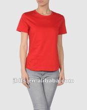 women's rounded bottom edged hem plain blank slim fit t shirt