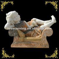 mix color marble girl garden statue