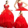 2014 Traditional Applique Peach Red Quinceanera Dress