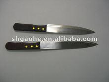 "Wood handle 10"" wide bread knife"