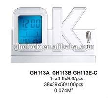 """Apheliotropic Light """"OK"""" Shape LCD Table Clock(GH113A)"""