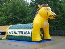 Inflatable house unicorn mascot tunnel, football helmet