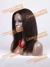 1B# kinky straight brazilian virgin lace front wig