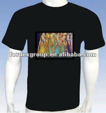 Promotional custom black led t-shirt with 100% cotton