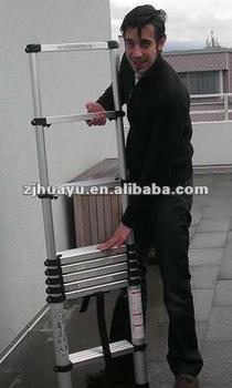 Aluminum telescopic ladder with handle