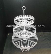 White 3-tier Round Shape Wire Cupcake Stand