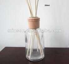 Óleo essencial Reed difusor / Rattan vara / garrafa de vidro e tampa de madeira