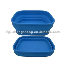 Foldable silicone bowl with lid can be lunch box and fruit plate