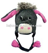 2012 fashion latest children acrylic animal winter earflap cap