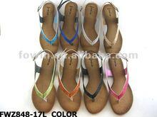 New designs colourful PU woman shoe lady flat sandals