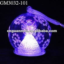 christmas ball with angel inside and snowflake pattern outside