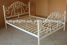2012 designers modern high headboard white metal double bed(ML-069)