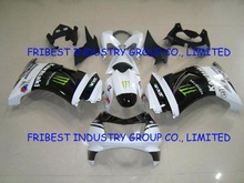 Motocycle fairing kit body work cowling for NINJA250R NINJA 250 08-12 WHITE AND BLACK FAIRING KIT