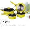 7pcs aluminum non-stick cookware set with glass lid