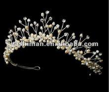 Fashion pageant pearl artificial flower crown,daisy flower crown headband