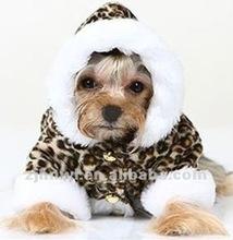 leopard printing plush dog coat