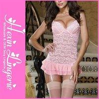2012 Pink Lace Mature women Sexy Babydoll