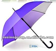 promotional rubber curved handle steel shaft straight umbrella-3928